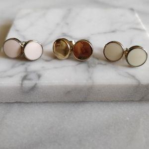 3 for $15 - 3 Set Post Earrings Pink Cream…